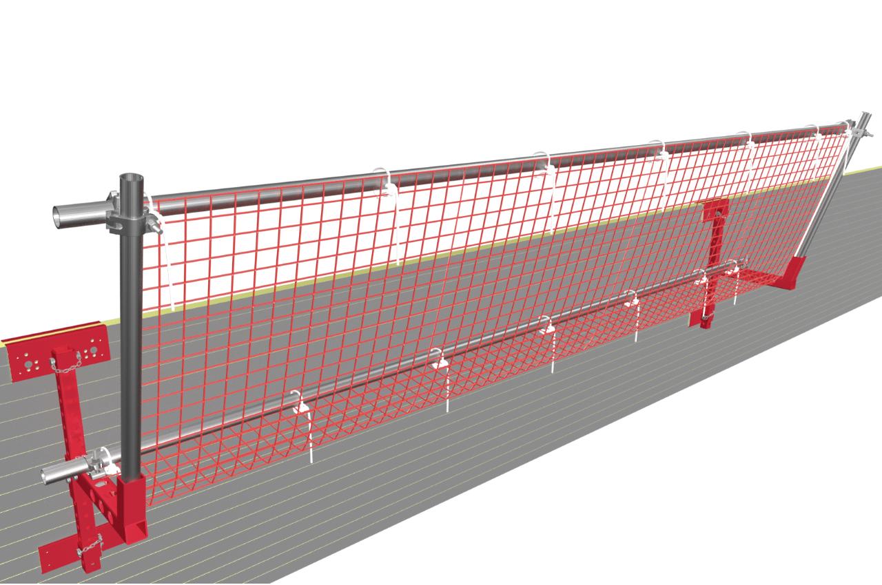Seitenschutz an Fassade zum Schutz vor herabstürzenden Baumaterialien